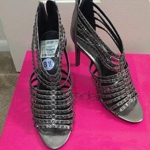 Strappy rhinestone heels